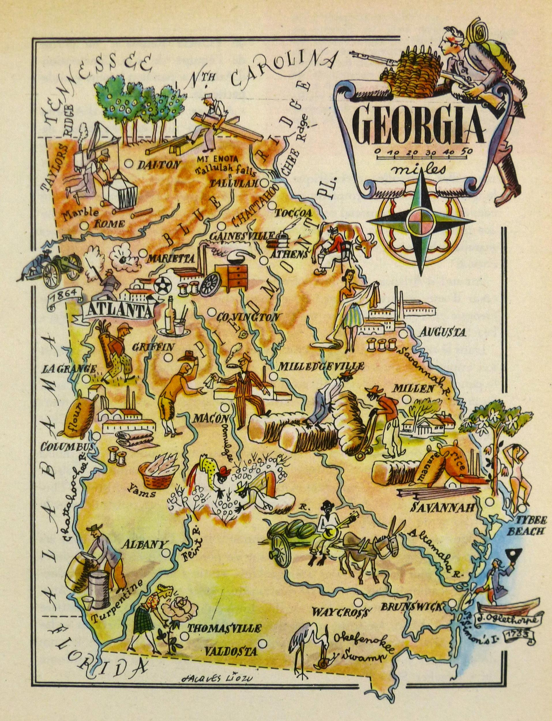Vintage Georgia Pictorial Map 1946  Chairish
