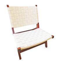White Interwoven Leather Lounge Chair | Chairish