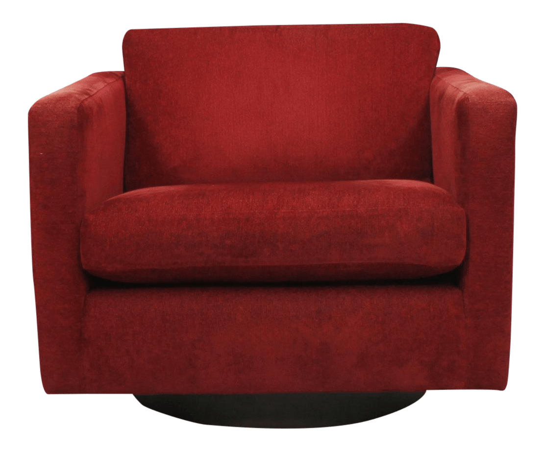 Mcm Chair Mcm Swivel Club Chair With Crimson Upholstery Chairish