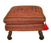 Vintage Colorful Upholstered Ottoman | Chairish