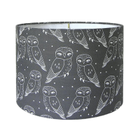 Owls Print Charcoal Drum Lamp Shade | Chairish