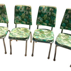 Stackable Chairs For Less Purple Chair Covers Sale Vintage 1946 Floral Green Vinyl Chrome - Set Of 4   Chairish