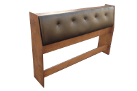 Tufted Leather & Wood Storage Headboard | Chairish