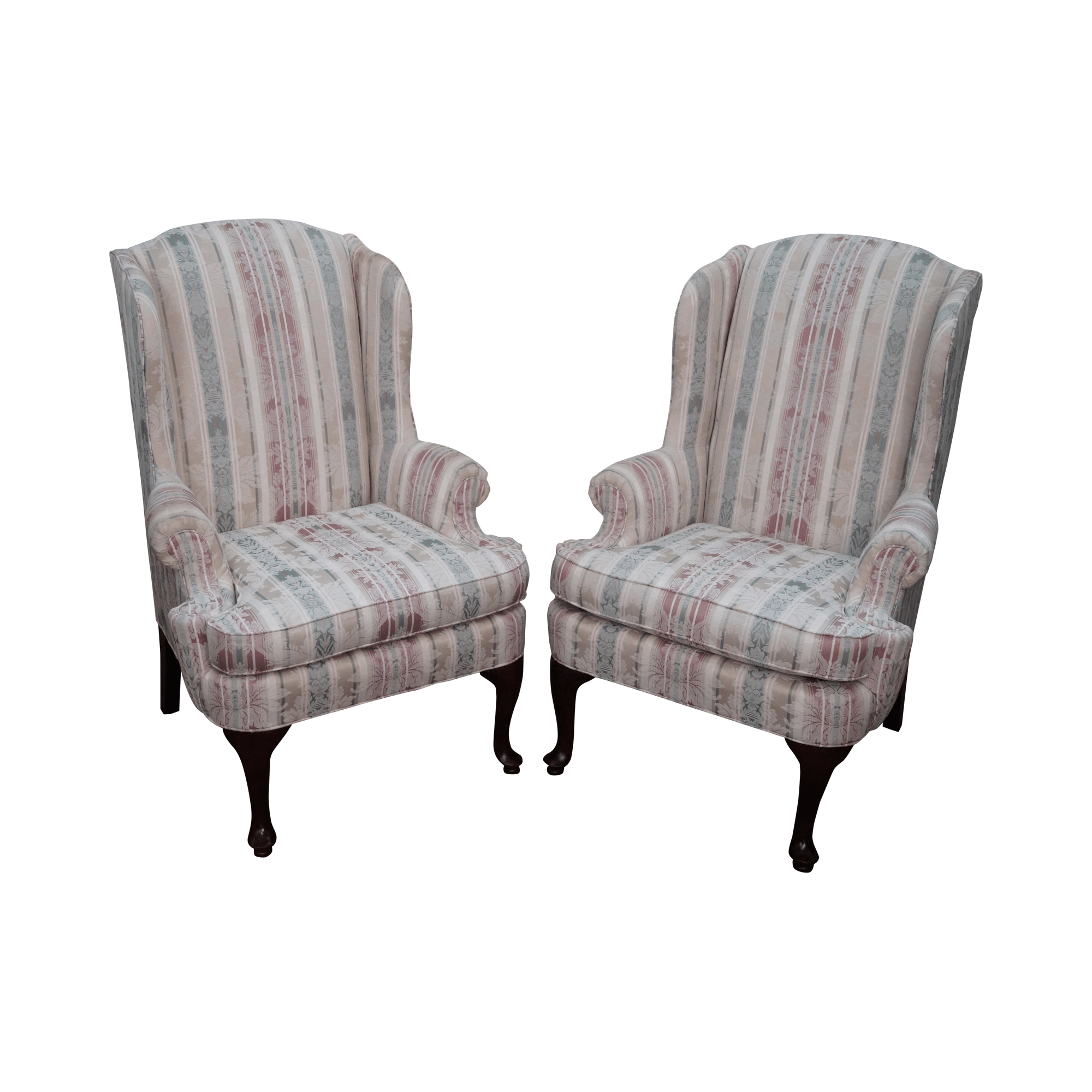 traditional wingback chair espen scoop back dining thomasville queen anne wing chairs 2 chairish