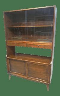 Lane Mid-Century Modern Walnut Hutch China Cabinet | Chairish
