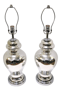 Hand Blown Mercury Glass Ginger Jar Lamps - A Pair | Chairish