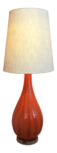 Mid-Century Orange Porcelain Table Lamp | Chairish