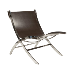 Leather Sling Chairs Stressless Recliner Reviews And Chrome Chair Paul Tuttle Chairish