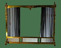 Vintage Brass & Sliding Iron Mesh Fireplace Screen | Chairish