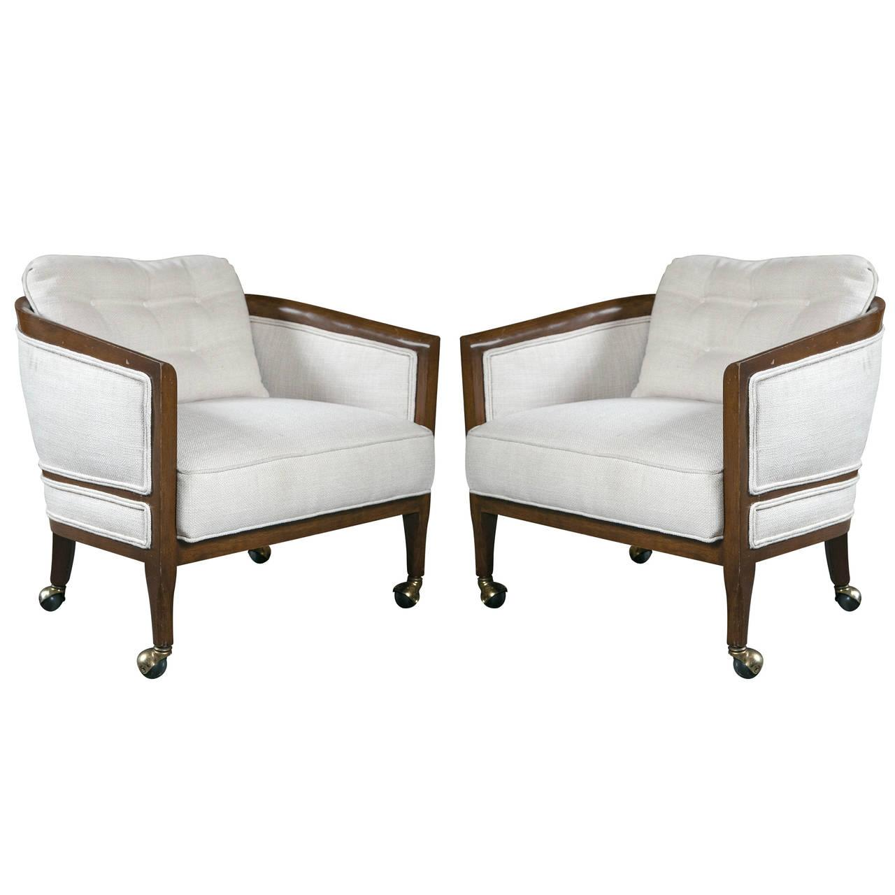 Mid Century Club Chair Mid Century Club Chairs On Casters A Pair Chairish