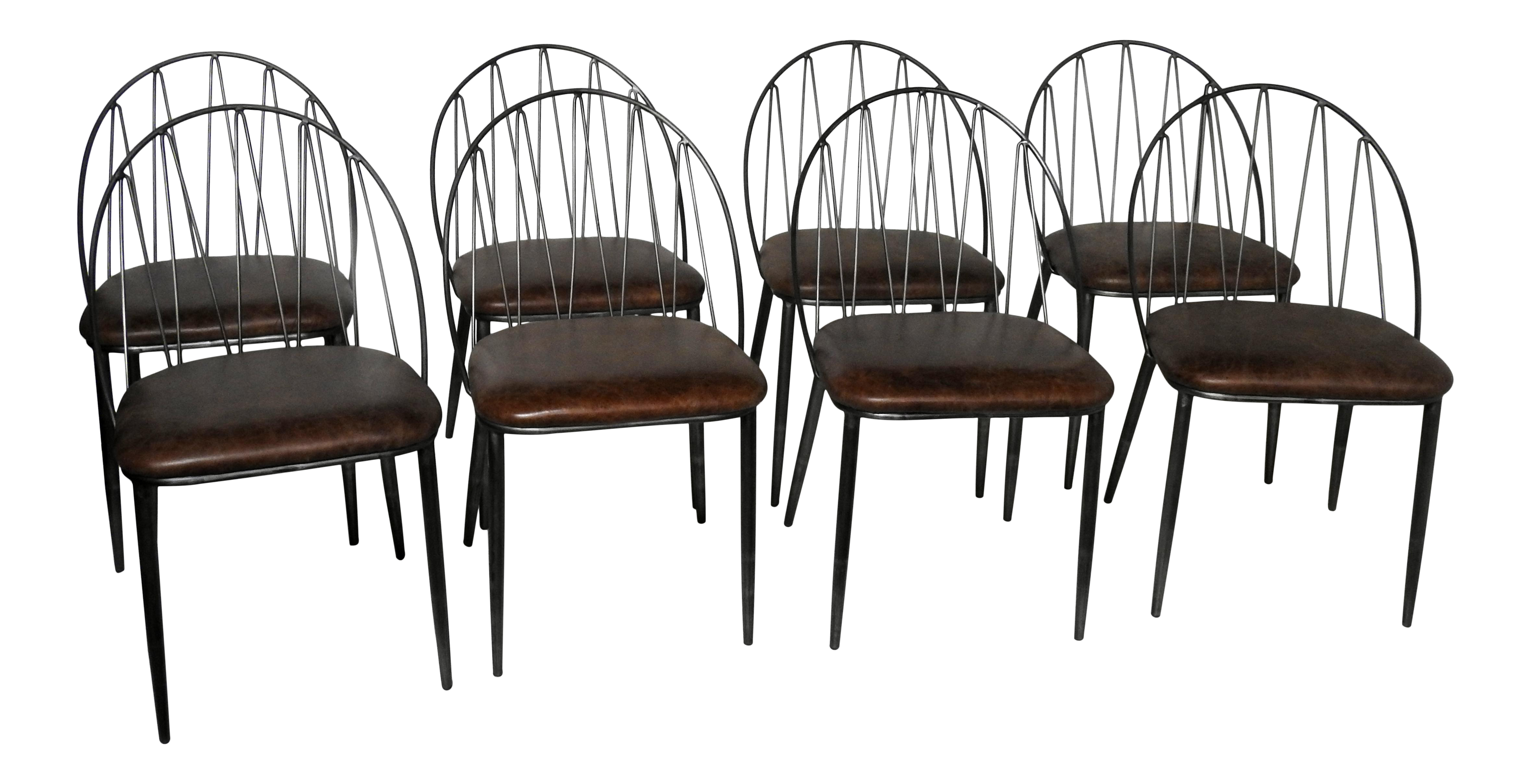 industrial style dining chairs hanging chair holder italian leather set of 8