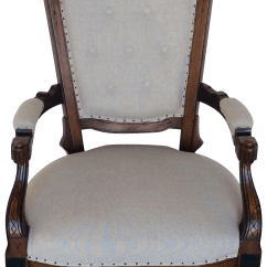 Victorian Accent Chair Swivel Meme Vintage Natural Linen Chairish