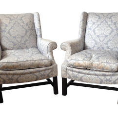 Blue Wing Chair Baby Sitting India Light Damask Wingback Chairs A Pair Chairish
