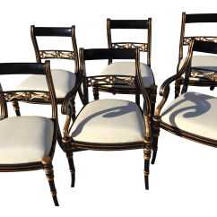 Black Dining Sets With 6 Chairs Antique Oak Rocking Chair Regency Set Of Chairish