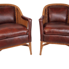 Heywood Wakefield Wicker Chairs Bucket Dining Room Leather And Club A Pair