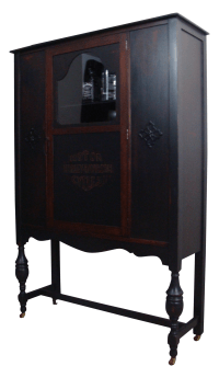 Antique Ebonized Wood Lock Liquor Cabinet | Chairish