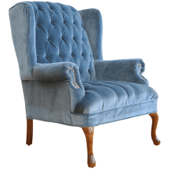 Navy Blue Wingback Chairs Solid Oak Pressed Back Vintage Tufted Velvet Chair Chairish