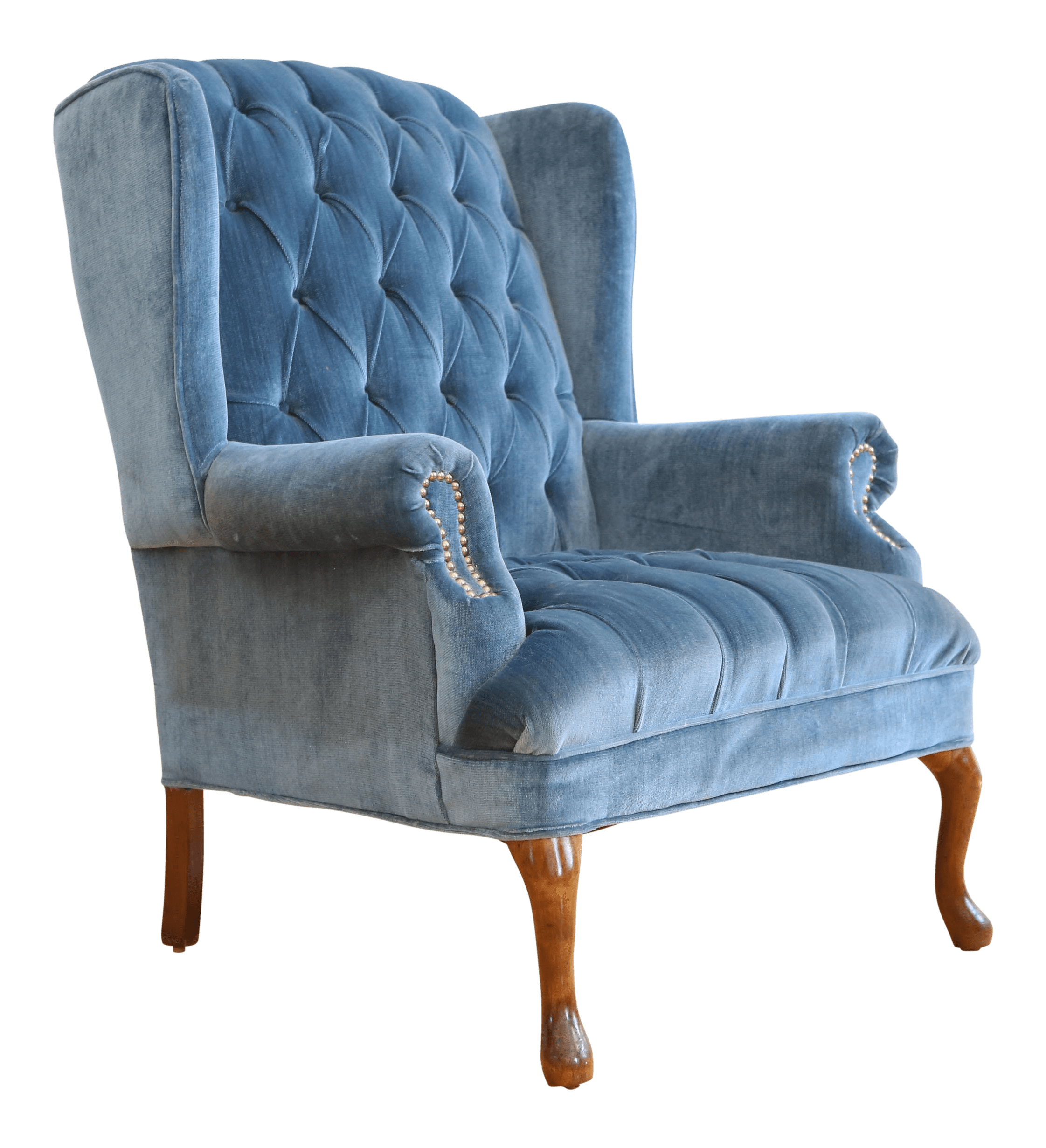blue wing chair era lounge low steel vintage navy tufted velvet wingback chairish