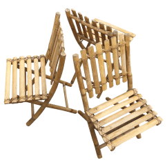 Bamboo Folding Chair Clip On Umbrella For Vintage Tiki Chairs Set Of 3 Chairish