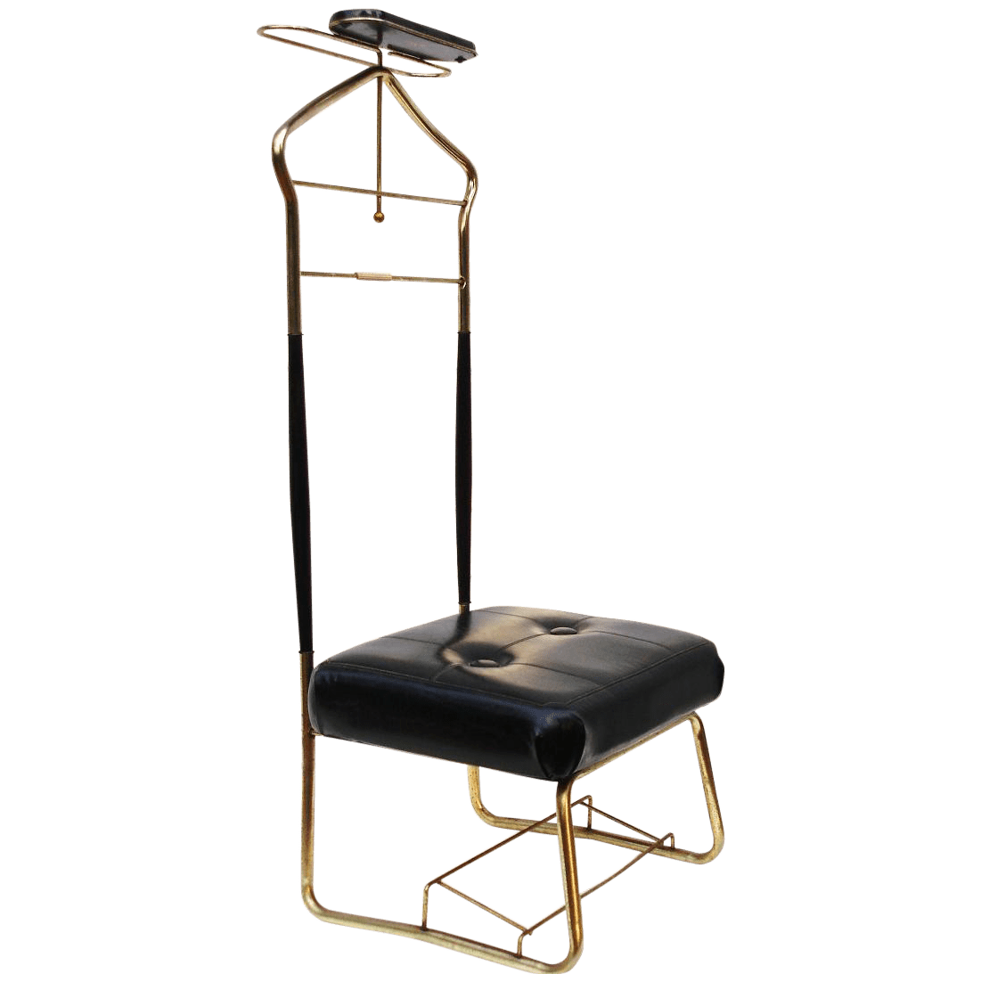 MCM Brass Butler Stand Valet Chair  Chairish