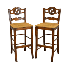 Ladder Back Dining Chairs French Country Restoration Hardware Chair Carved Rooster Rush Seat Bar Counter Stools - A Pair | Chairish