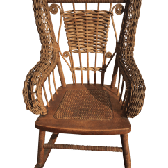 Wicker Rocking Chairs Proper Chair Posture Antique Children 39s And Spindle Chairish