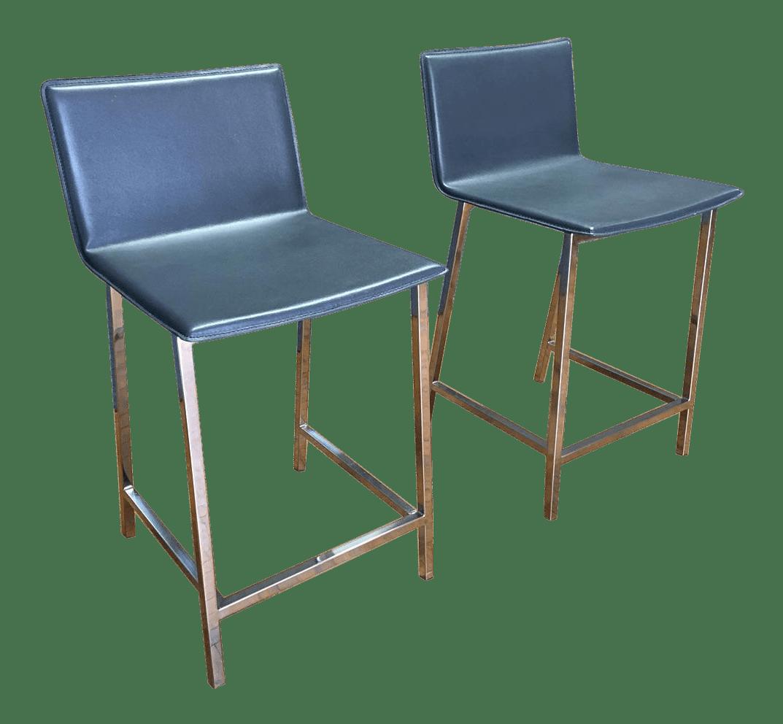 cb2 club sofa ottoman how to repair leather tears phoenix navy blue counter stools - pair | chairish