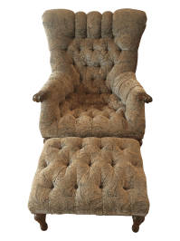 Paisley Print Reading Chair With Ottoman | Chairish