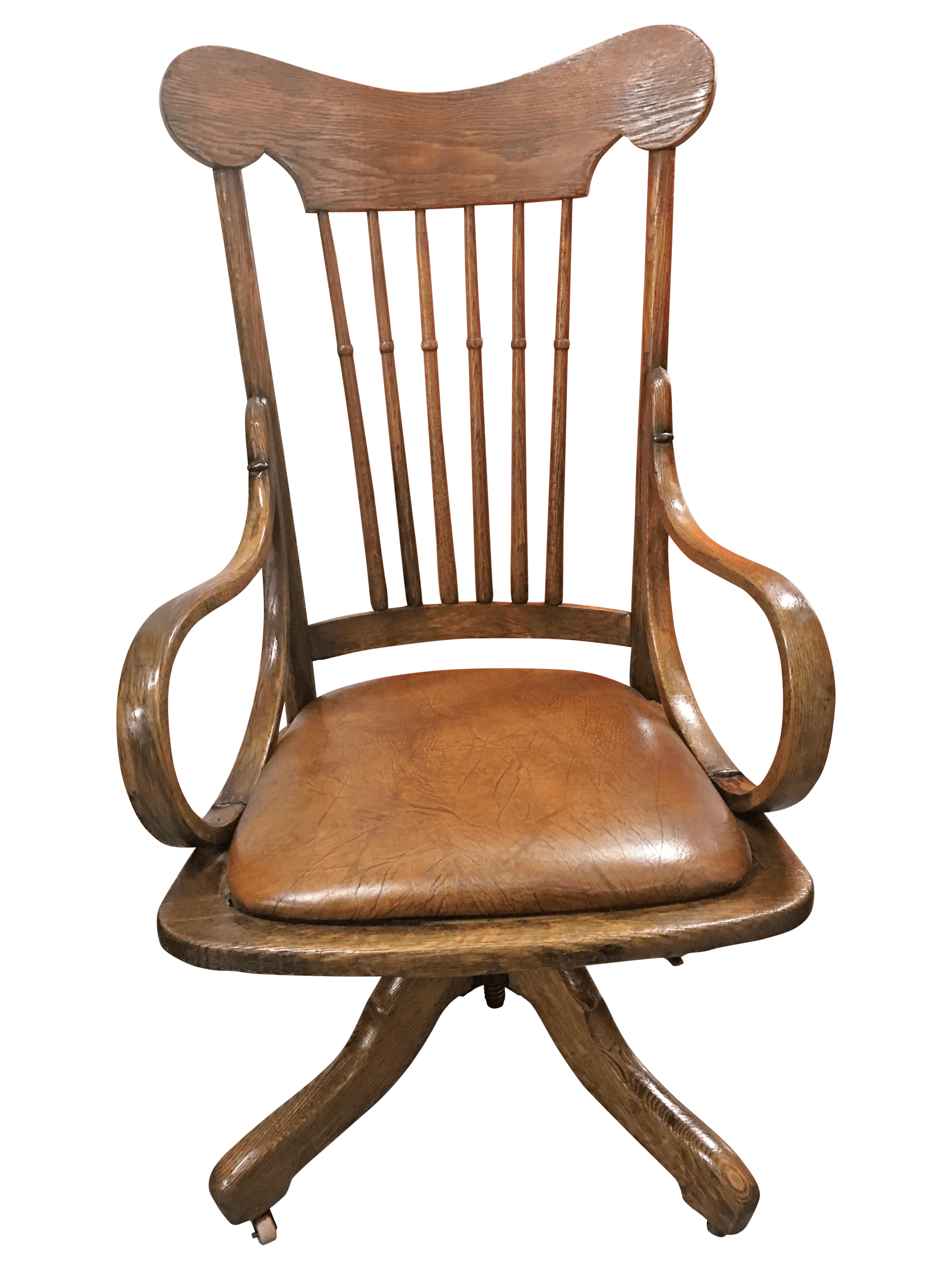 Rolling Desk Chairs Antique Wood Rolling Office Chair Chairish