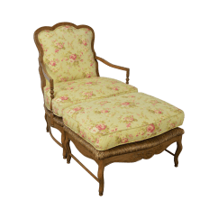 French Provincial Chair And Ottoman Bubble On Stand Calico Corners Country Bergere Lounge W
