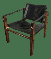 Black Leather Safari Chair | Chairish