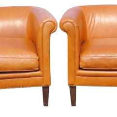 Bernhardt Brown Leather Club Chair Covers With Attached Sash Chairs A Pair Chairish