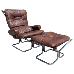 Modern Leather Chair And Ottoman Fit Gym Ingmar Relling For Westnofa 1969 Danish Mid Century