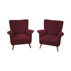 Maroon Office Chairs Costco Furniture Mid Century Upholstery Walnut Lounge Chairish