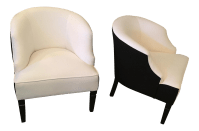Mid-Century Modern White Barrel Chairs - A Pair | Chairish