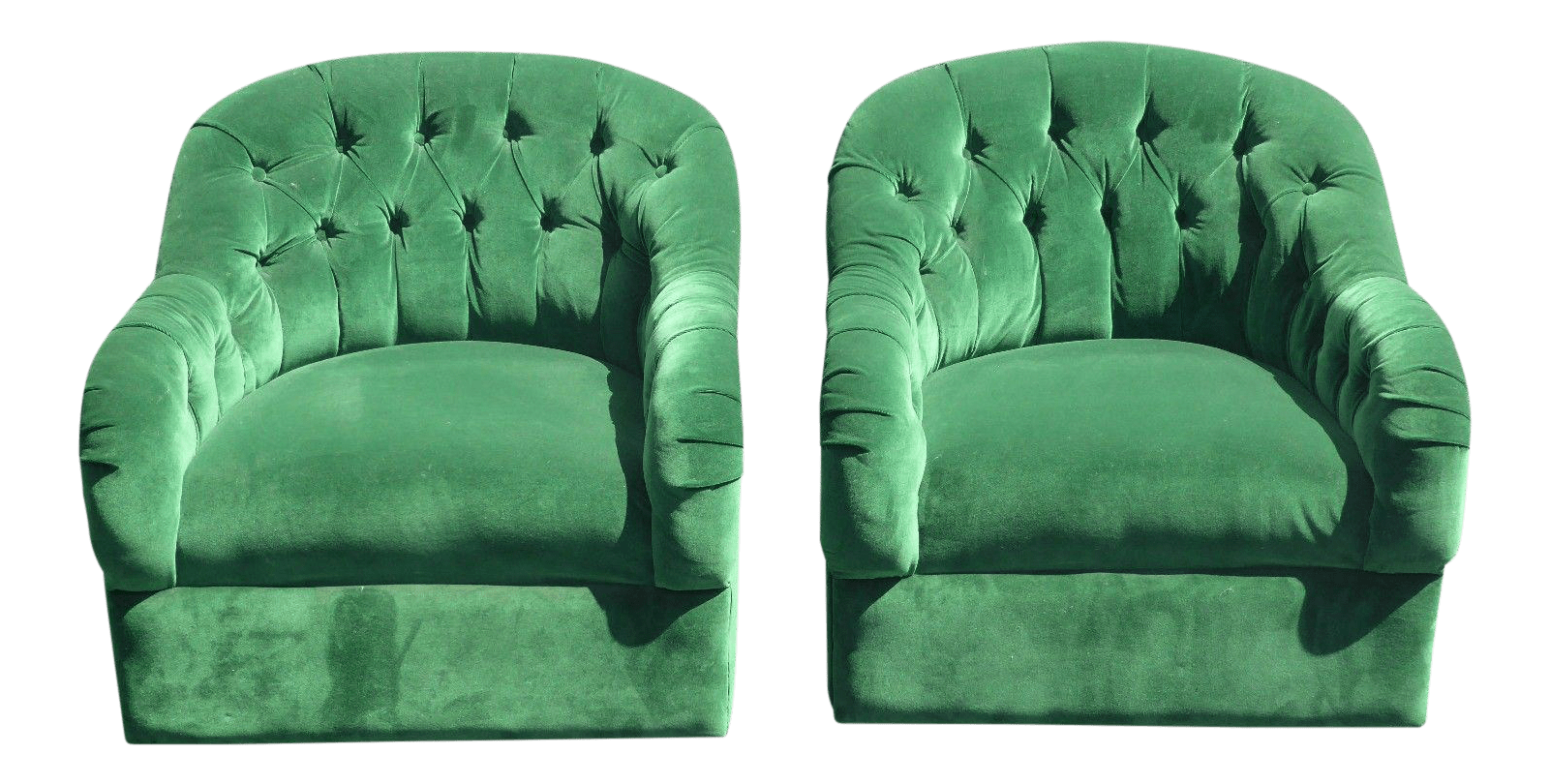 green velvet swivel chair hans wegner the vintage pair of mid century modern tufted