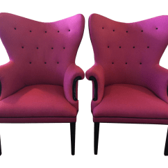 Hot Pink Office Chair Best Dining Room Chairs Vintage Wingback One Left Chairish