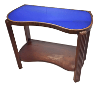 Art Deco Kidney Shaped Cocktail Table with Blue Mirrored ...
