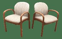 Mid-Century Gunlocke Walnut Chairs - A Pair | Chairish