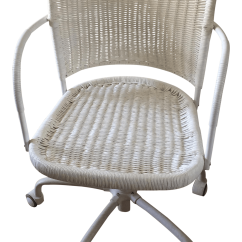 White Rolling Chair Finn Juhl 45 Replica Wicker Desk Chairish