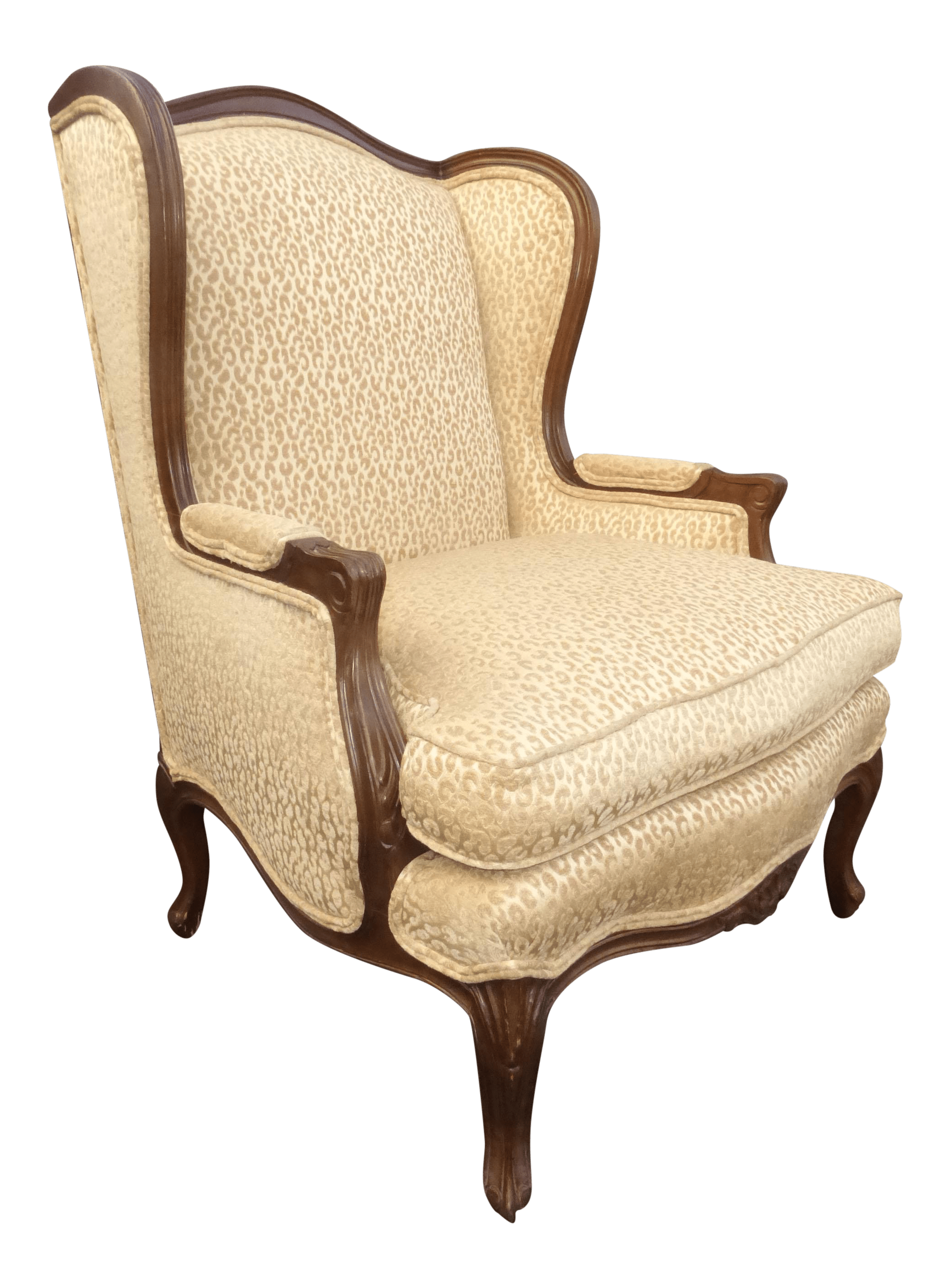Cheetah Chair French Leopard Cheetah Print Designer Tan Wingback Chair