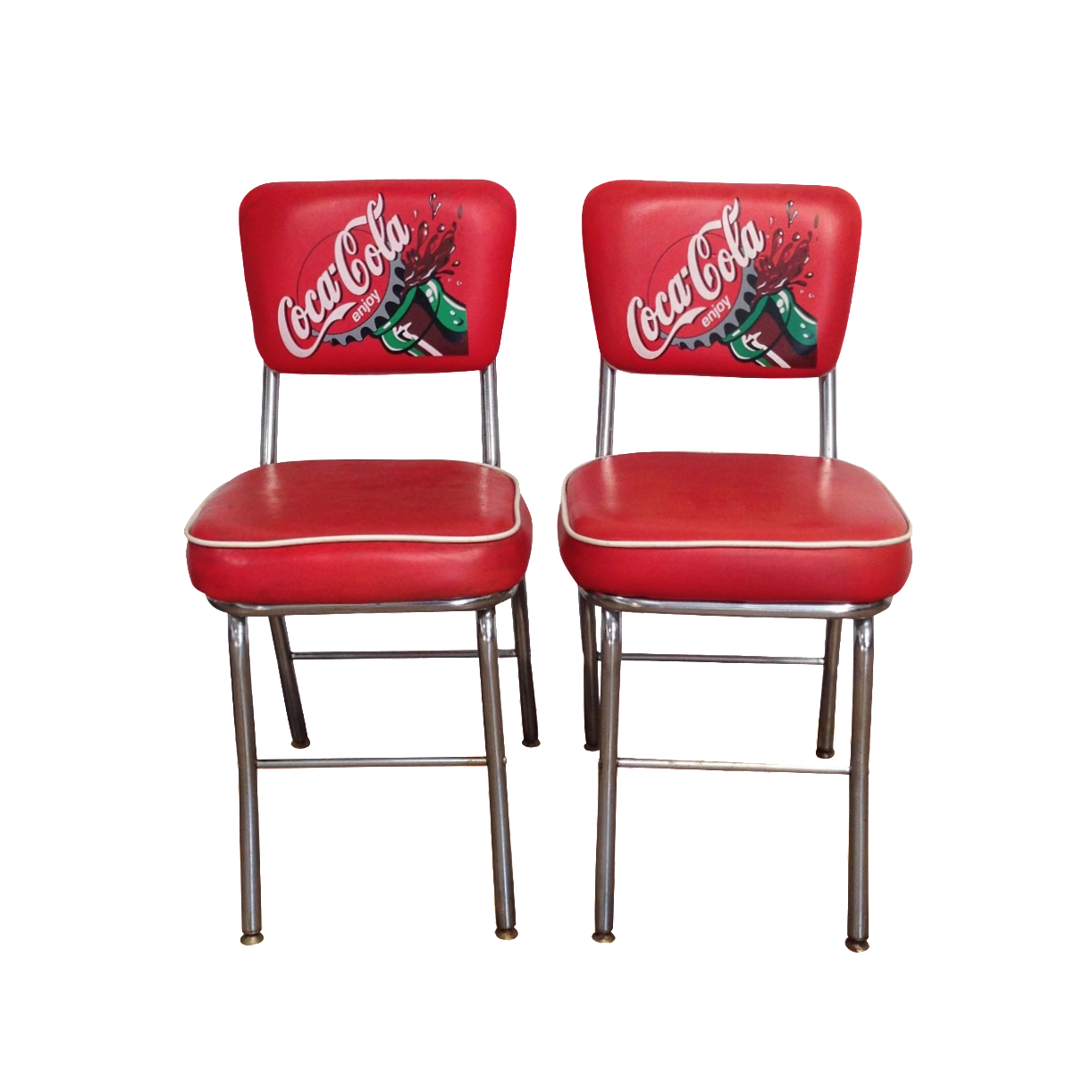 Coca Cola Table And Chairs Coca Cola Red Vinyl Cafe Chairs A Pair Chairish