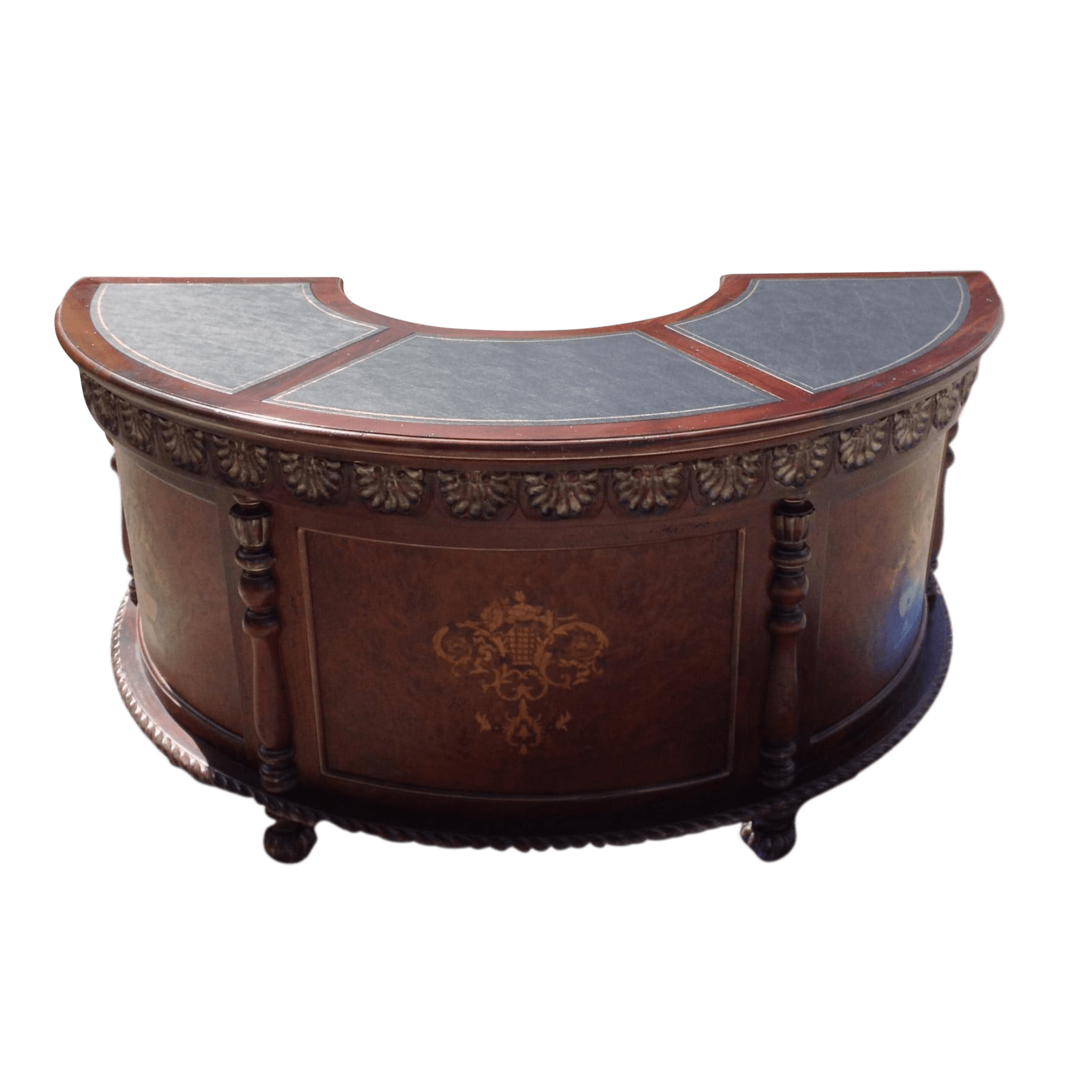 oversized leather chair and ottoman sets tall drafting table mahogany half moon top desk | chairish