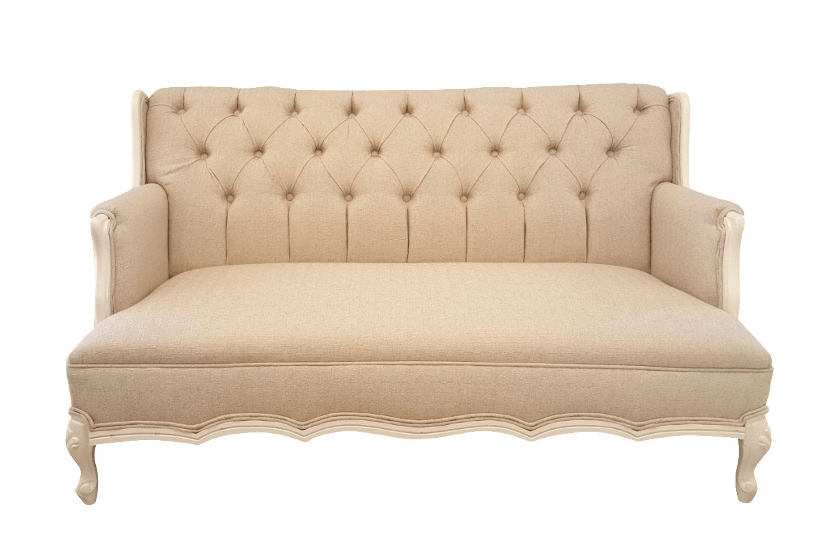 french linen tufted sofa grey modular provincial settee chairish