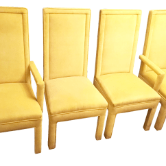 Yellow Parsons Chair Contemporary Kids Table And Chairs Faux Mohair Upholstered Dining Set