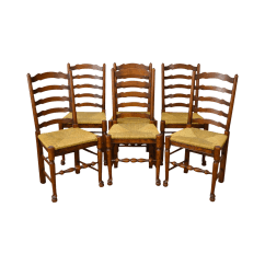 Antique Ladder Back Chairs With Rush Seats Evenflo Quatore 4 In 1 High Chair French Country Style Set Of 6