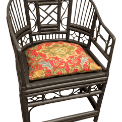 Chippendale Rocking Chair Black Lycra Covers Chinese Bamboo And Rattan Chairish