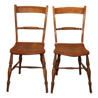 Antique Spindle Rope Design Wooden Dining Chairs - a Pair ...