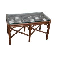 McGuire Rattan Bamboo Glass Coffee Table | Chairish