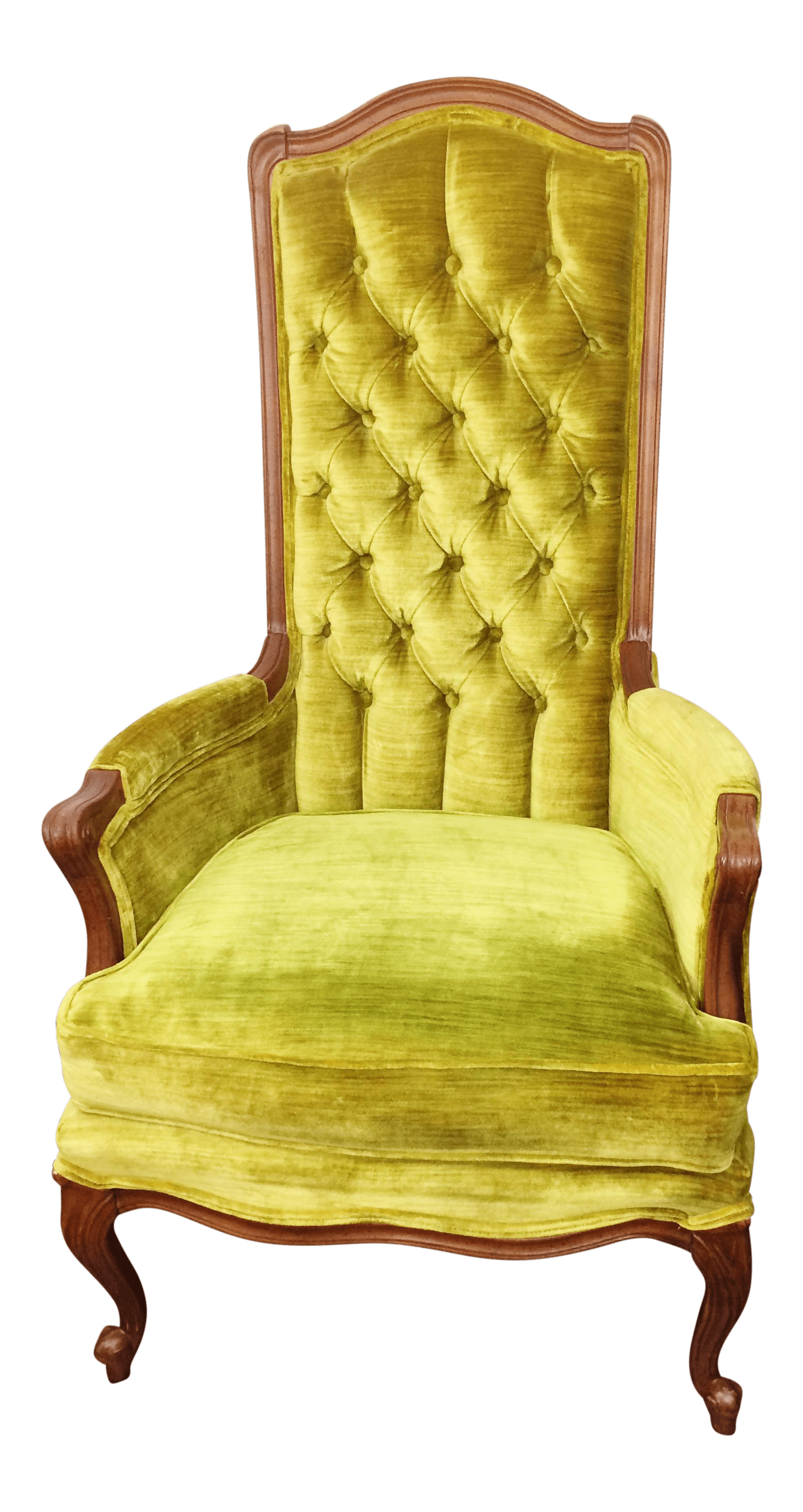 green velvet tufted chair 16 round outdoor cushions broyhill mid century high back accent